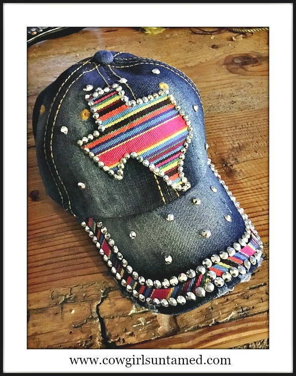 TEXAS STYLE CAP State of Texas with Rhinestone Trim Blue Denim Cap