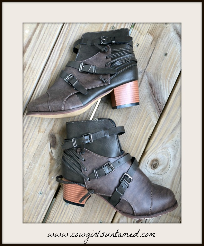 VINTAGE COWGIRL BOOTS Brown & Black Belted Strappy Faux Leather Boho Booties