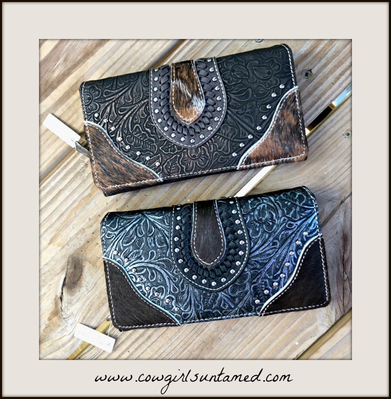 COWGIRL STYLE WALLET Floral Tooled Leather Silver Studded Hair On Hide Wallet