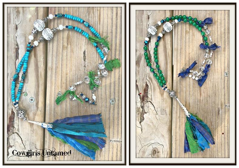 VINTAGE BOHEMIAN NECKLACE Sari Ribbon Tassel Gemstone Beaded Boho Necklace