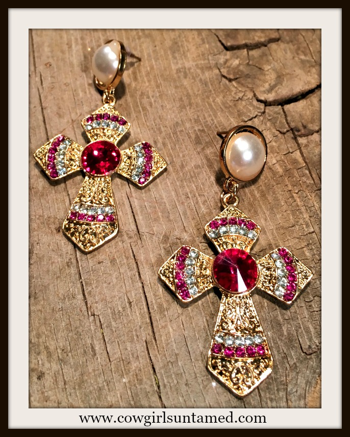 VINTAGE APPEAL EARRINGS Hot Pink Rhinestone and Pearl Gold Cross Earrings