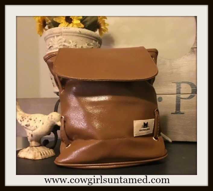 COWGIRL STYLE HANDBAG Gold Hardware Double Strap & Kitty Tag Brown Messenger Bag