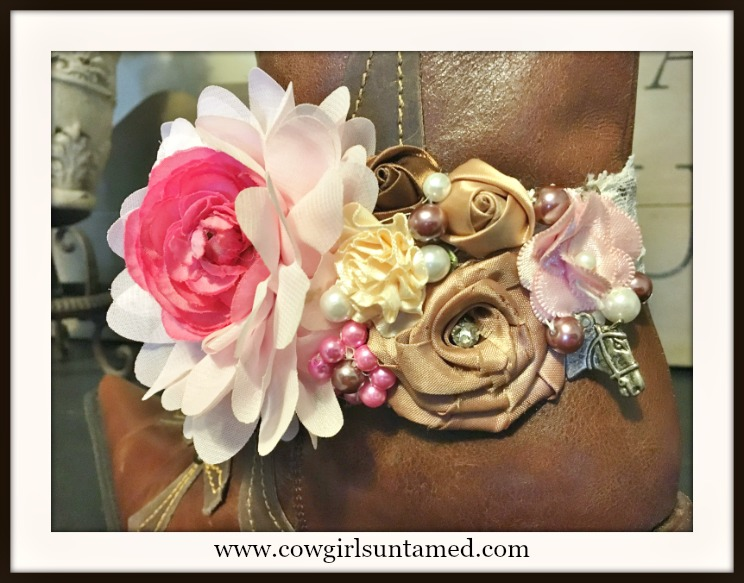 WILDFLOWER BOOT GARTER Pink, Cream and Warm Brown Silk Flowers with Antique Silver Horse on Stretchy White Lace Boot Cuff
