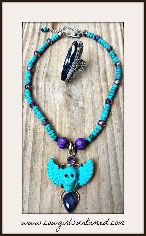 COWGIRLS ROCK NECKLACE Deep Turquoise & Amethyst Winged Skull SS Pendant Beaded Necklace