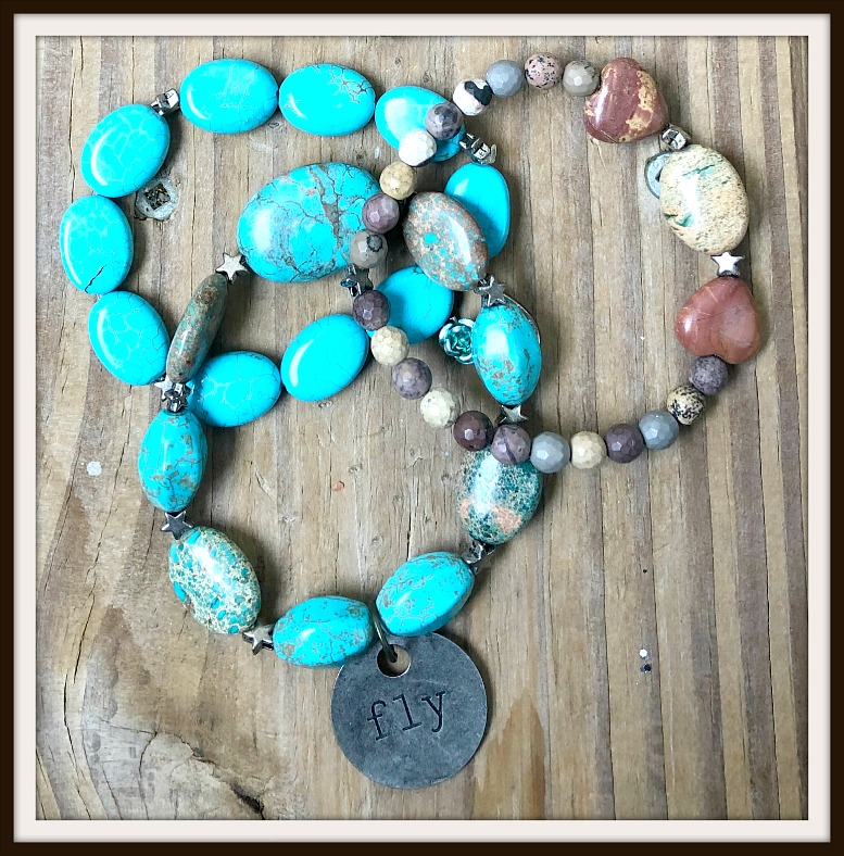 "COWGIRL GYPSY BRACELET SET 3 ""Fly"" Charm Aqua & Brown Gemstone Turquoise Leather Bracelet Set"