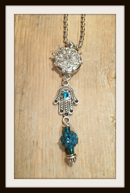 BOHEMIAN COWGIRL NECKLACE Teal Crystal Hamsa & Charm Silver w/ Crystal Snap Pendant Necklace