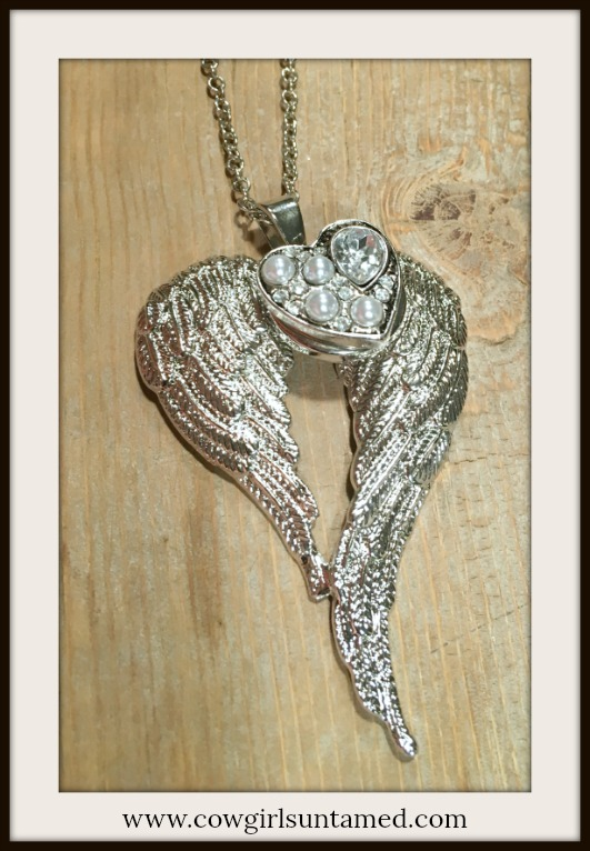 COWGIRL ATTITUDE NECKLACE Silver Angel Wings Rhinestone & Pearl REMOVABLE Heart Snap Pendant Necklace