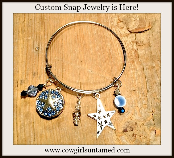 COWGIRL GYPSY BRACELET Silver Bangle with Light Blue Crystal Star Snap, Silver Star, Blue Swarovski Crystal, and Blue Beaded Charms