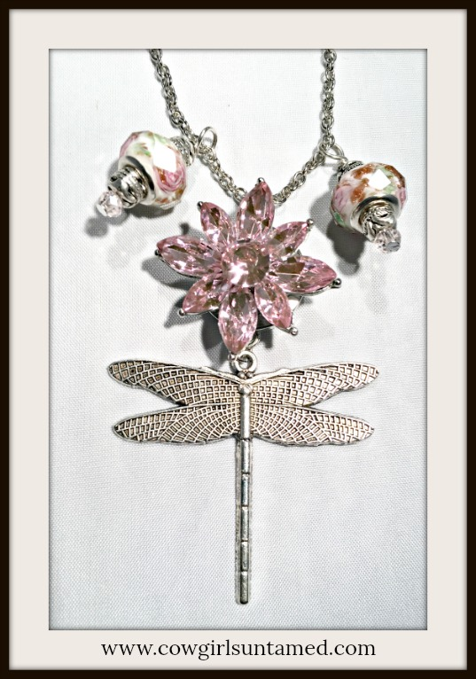 BOHEMIAN COWGIRL NECKLACE Pink Floral Charms Rhinestone Flower Snap Antique Silver Dragonfly Necklace