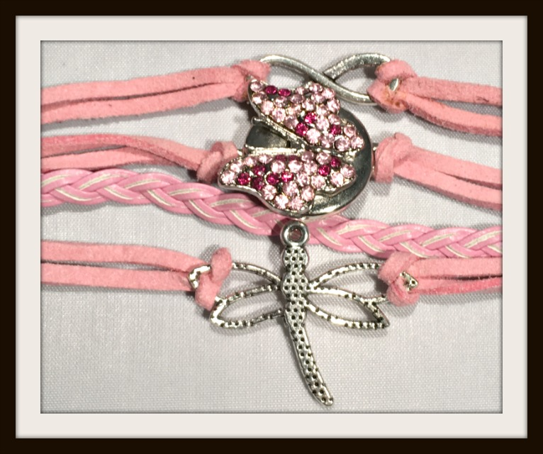 COWGIRL ATTITUDE BRACELET Silver Dragonfly, Infinity, Pink/Purple Butterfly Snap Charm Pink Leather Bracelet