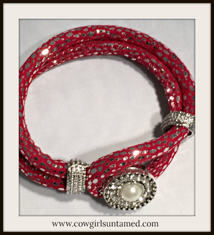 COWGIRL GLAM BRACELET Pearl Rhinestone Snap on Burgundy Sparkly Fabric Silver Double Strap Bracelet