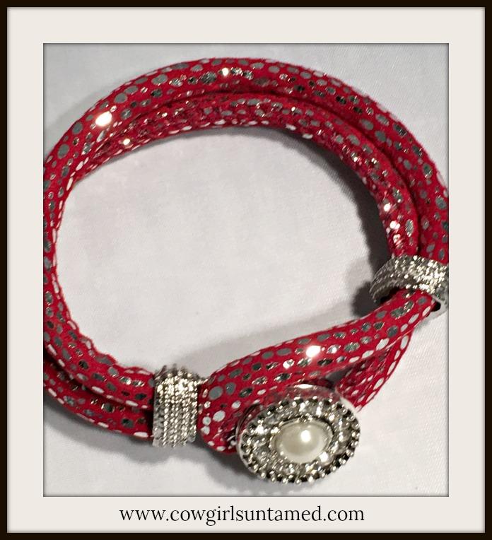 GOING GLAM BRACELET Pearl Rhinestone Snap on Burgundy Sparkly Fabric Silver Double Strap Bracelet