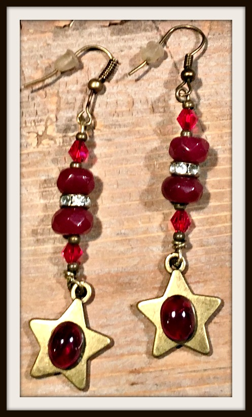 VINTAGE GYPSY EARRINGS Antique Bronze Red Ruby Gemstone Star on Garnet Crystal BOHO Earrings