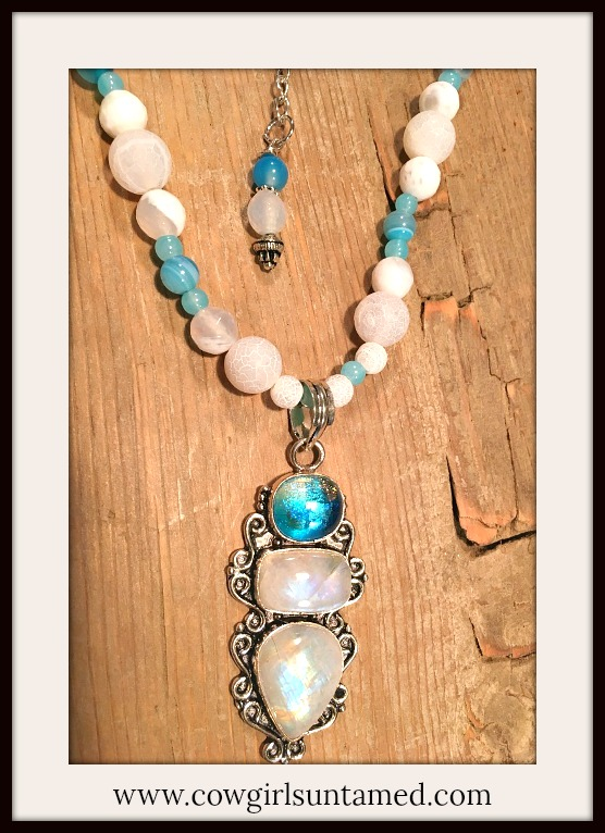 BOHEMIAN COWGIRL NECKLACE Rainbow Moonstone & Topaz SS Pendant Gemstone Beaded Necklace