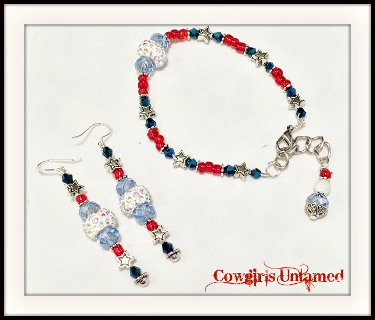 AMERICAN PRIDE JEWELRY SET Silver Stars Light and Dark Blue Crystals Red White Beaded Earringss Bracelet Set