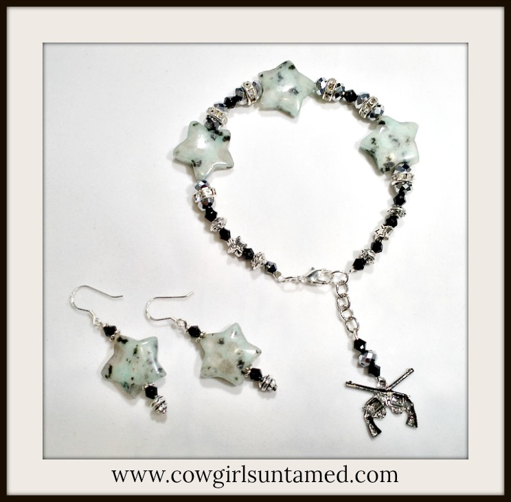 COWGIRL GYPSY JEWELRY SET Rhinestone Black Crystal Star Gemstone Earrings and Bracelet Set