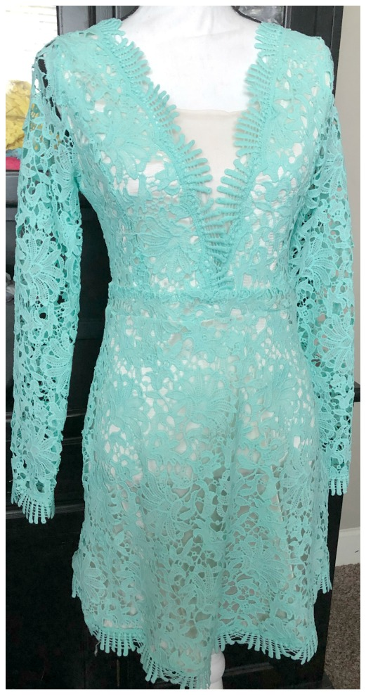 THE KAITLIN DRESS Aqua Lace Long Sleeve Plunging Neck Sexy Dress
