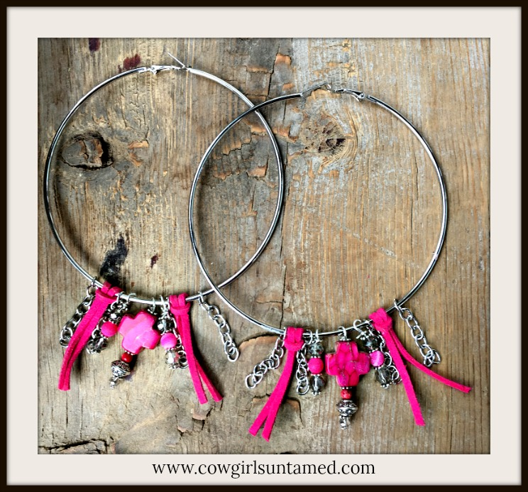 BOHEMIAN COWGIRL EARRINGS Pink Leather Tassel Silver Chain Gemstone Cross Large Hoop Earrings