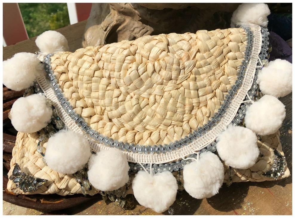 VINTAGE BOHEMIAN CLUTCH Handmade White Pom Pom & Vintage Rhinestone Fringe Natural Straw Clutch Purse