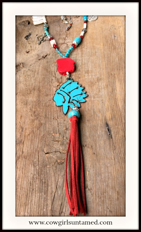 GYPSY SOUL NECKLACE Patina Metal Indian Chief Red Tassel Pendant Turquoise & Charm Beaded Necklace