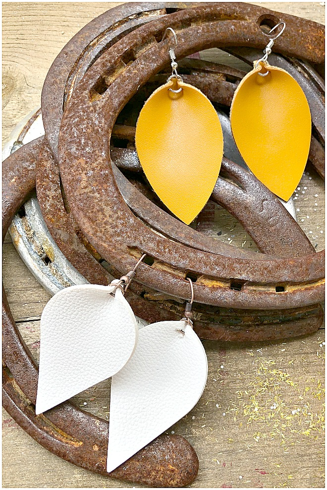 THE KELLY EARRINGS Handmade Large Metallic Trimmed Genuine Leather Teardrop Earrings 2 COLORS