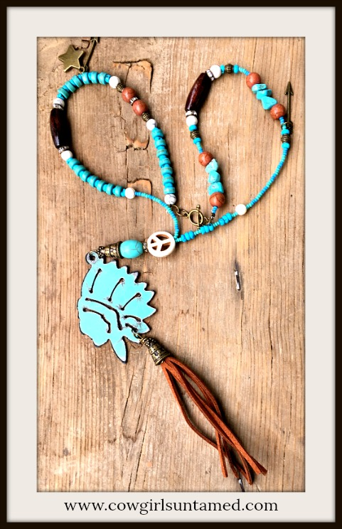 GYPSY SOUL NECKLACE Aqua Patina Indian Chief Pendant Turquoise & Brown Jasper Antique Bronze Charm Beaded Necklace