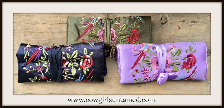 BOHEMIAN COWGIRL JEWELRY ROLL Embroidered Floral on Stain Jewelry Organizer Holder Roll