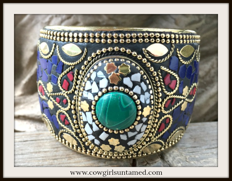 VINTAGE BOHEMIAN CUFF Nepali Bangle With Coral, Malachite & Lapis Brass Overlay Bracelet