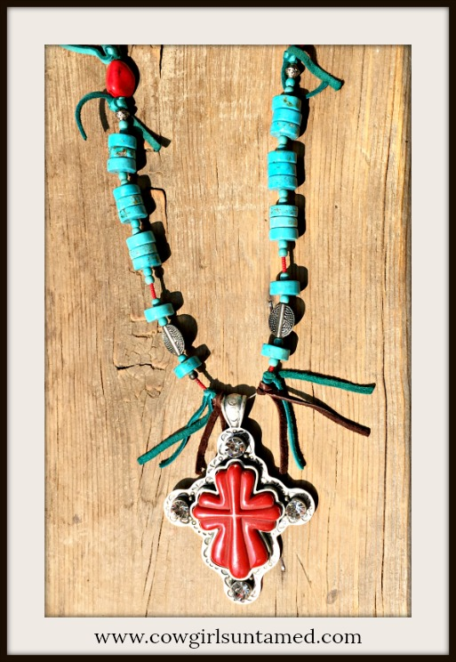 COWGIRL GYPSY NECKLACE Large Red Antique Silver Rhinestone Cross Pendant on Turquoise Beaded & Tassel Necklace