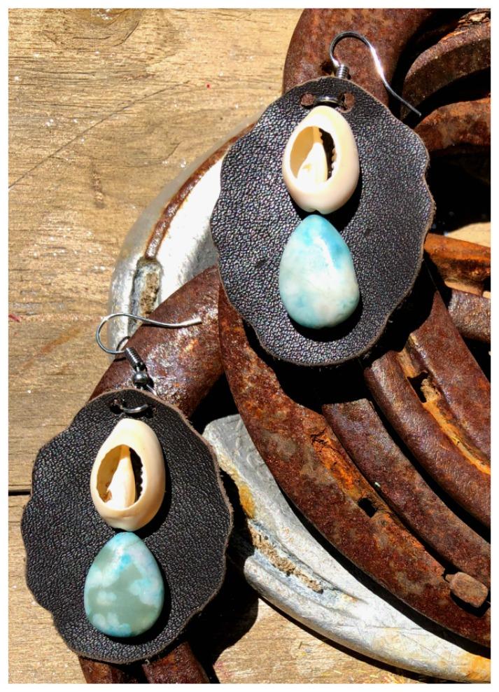 BOHEMIAN COWGIRL EARRINGS Genuine Brown Leather, Cream Cowrie Shell & Blue Gemstone Large Earrings