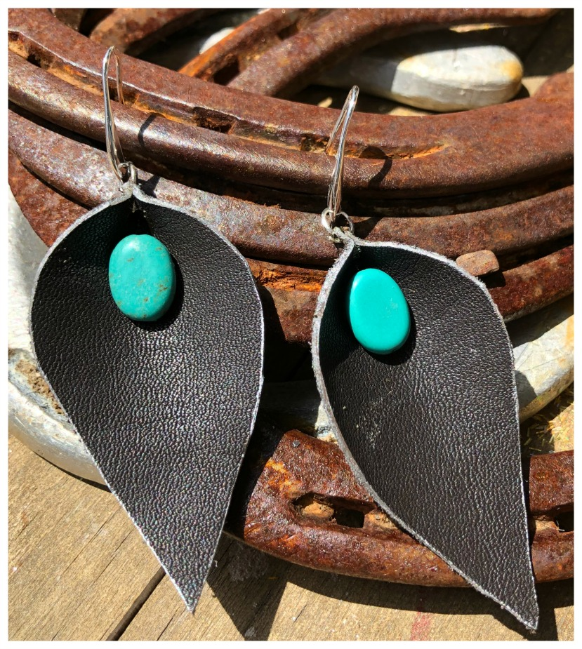 BOHEMIAN COWGIRL EARRINGS Genuine Brown Leather & Turquoise Large Silver Earrings