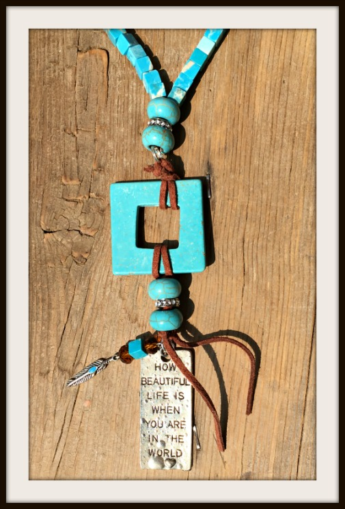 WESTERN COWGIRL NECKLACE Silver Quote and Leather Tassel Pendant Turquoise Beaded Necklace