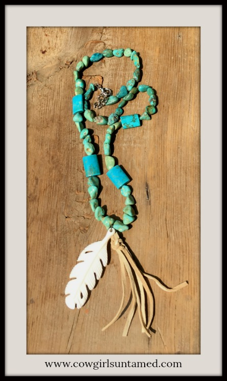 GYPSY SOUL NECKLACE Bone Carved Feather & Leather Tassel Pendant on Genuine Turquoise Boho Necklace