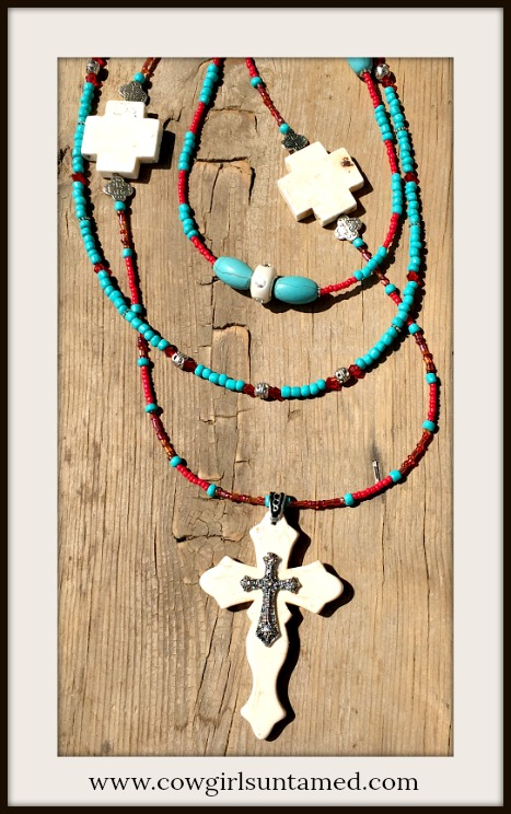 COWGIRL GYPSY NECKLACE Triple Strand Turquoise & Red Indian Beaded Large Cross Necklace