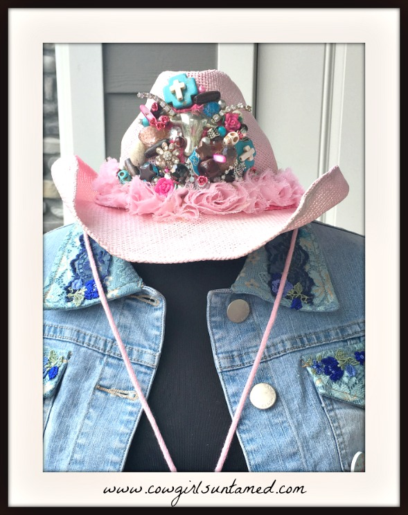 COWGIRL GYPSY HAT Multi Color Pearl Rhinestone Cross Skull Collage Pink Straw Shapeable Cowgirl Hat
