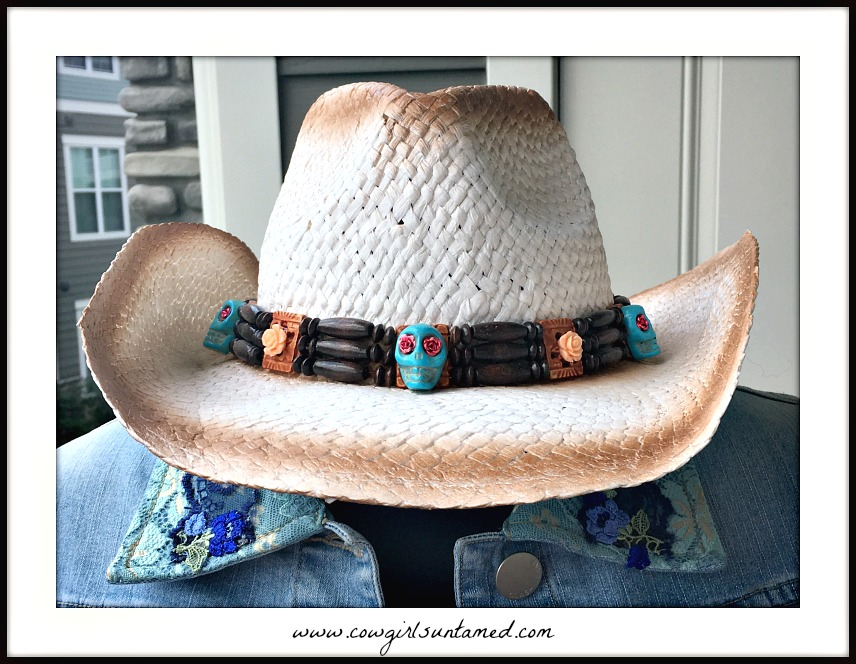 COWGIRL GYPSY HAT Peach Rose & Skull Wood Headband on White Brown Aged Look Straw Cowgirl Hat
