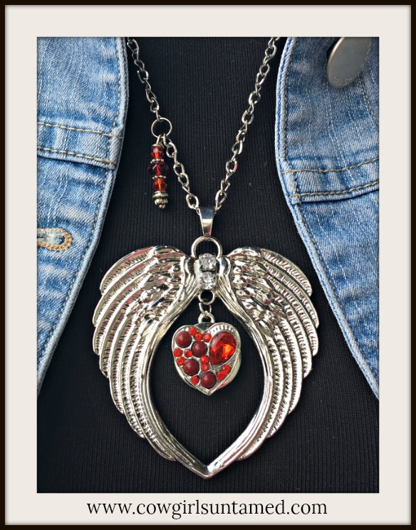 COWGIRL ATTITUDE NECKLACE Rhinestone Angel Wing & Red Rhinestone REMOVABLE Heart Snap Pendant Charm Necklace
