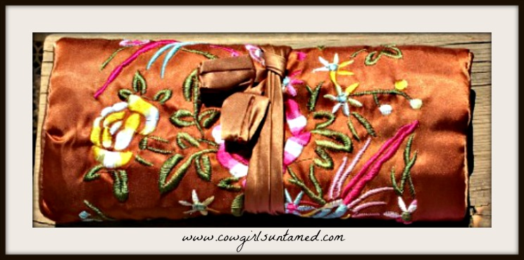 BOHEMIAN COWGIRL JEWELRY ROLL Multi Color Embroidered Floral on Satin Jewelry Organizer Holder Roll