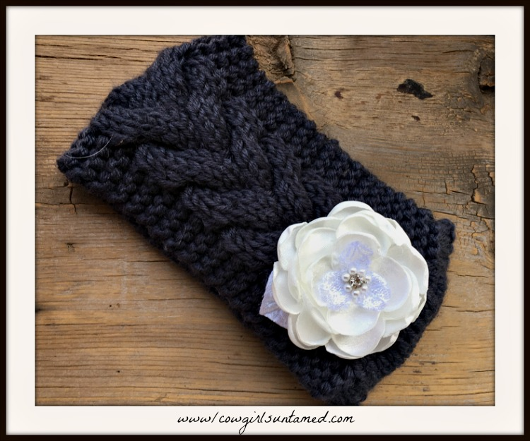 COWGIRL GYPSY HEADBAND Rhinestone Pearl Lace Silk Flower on Grey Headband
