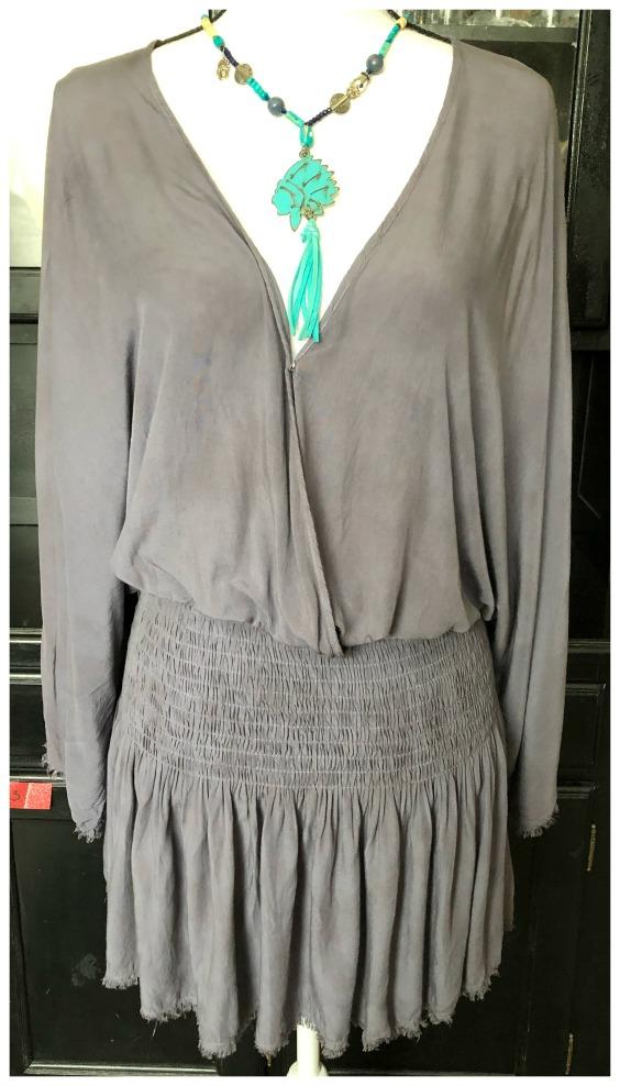 MUSTARD SEED DRESS Dusty Blue Kimono Sleeve V Neck Smocked Waist Raw Edge Mini Dress LAST ONE M/L