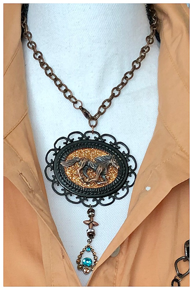 VINTAGE COWGIRL NECKLACE Antique Copper Horse Black Cameo Amber Turquoise Rhinestone N' Cross Charm Choker Necklace