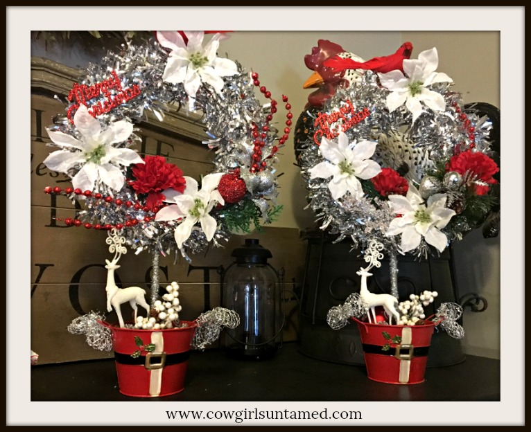 "COWGIRL CHRISTMAS DECOR ""Merry Christmas"" Red & White Topiary with Deer in Santa Pot"