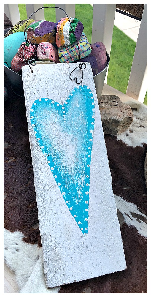FARMHOUSE STYLE DECOR Aqua Turquoise Hand Painted Heart on Distressed White Wood Wall Hanging