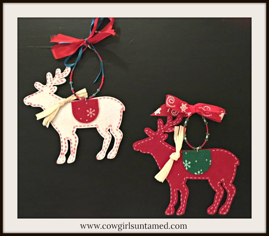 COWGIRL CHRISTMAS DECOR Handmade White and Red Felt Deer Beaded Ornaments