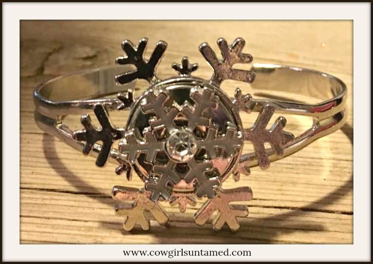 WINTER TIME BRACELET Silver & White Rhinestone Snap on Silver Snowflake Cuff