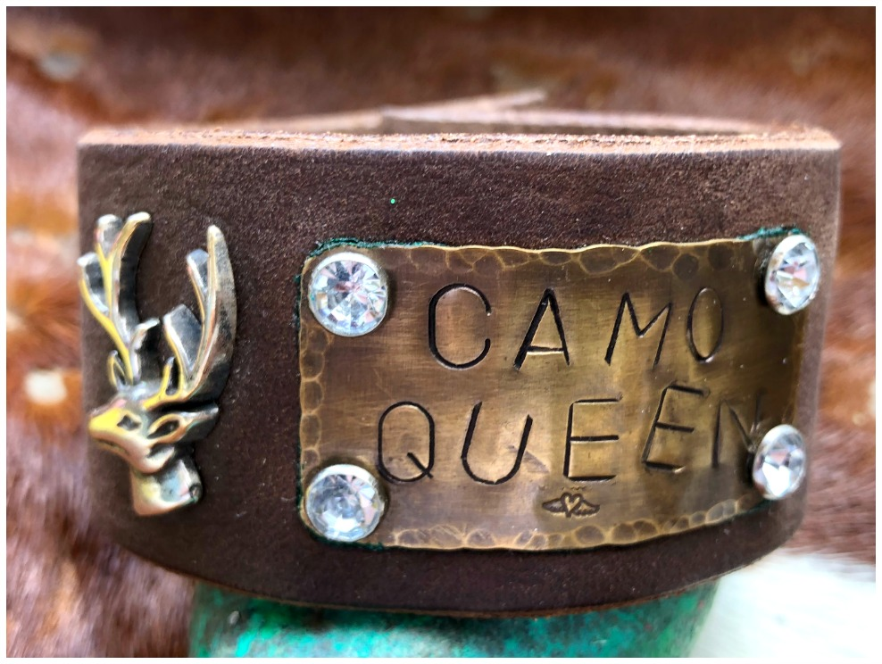 "CAMO COWGIRL CUFF ""Camo Queen"" Rhinestone Studded Deer Concho Brown Leather Cuff Bracelet LAST ONE"