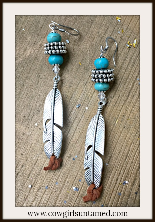 BOHEMIAN COWGIRL EARRINGS Turquoise and Antique Silver Feather with Brown Leather Long Earrings