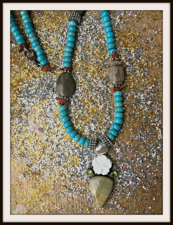 BOHEMIAN COWGIRL NECKLACE Sterling Silver Jasper Shell & Peridot Pendant on Brown Jasper & Turquoise Silver & Leather Long Necklace