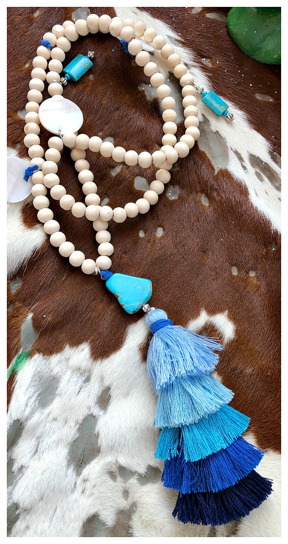THE BOHO TASSEL NECKLACE Silver Turquoise & Shell Charm on Long Beige Beaded Blue Tiered Large Tassel Boho Necklace