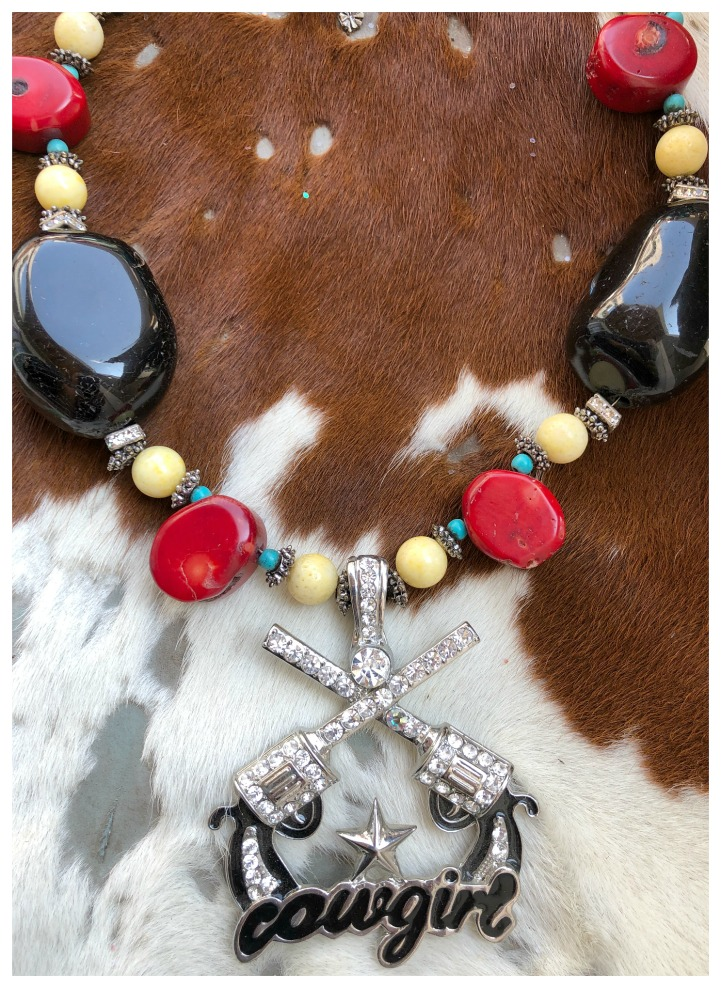 COWGIRL STYLE NECKLACE Handmade Black Obsidian Red Coral Turquoise Yellow Coral Rhinestone Silver Sixshooter Necklace